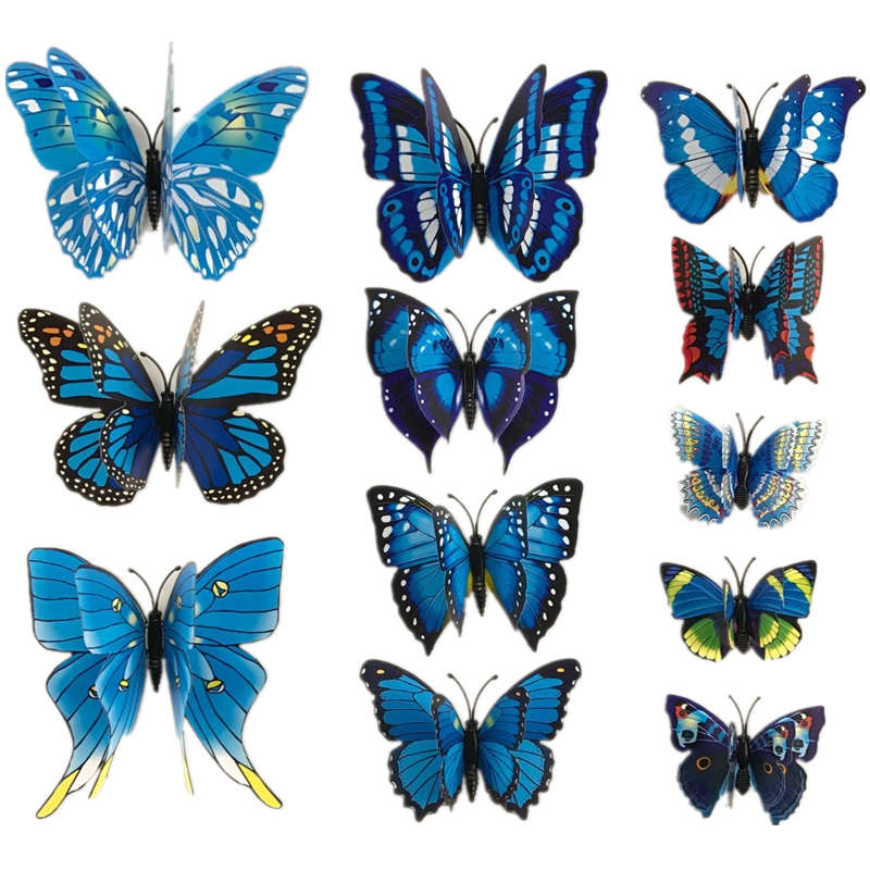 12Pcs 3D Double Layer Feather Butterfly Sticker Fridge Magnet Decal Ice Box/Refridgerator Decor Magnetic Sticker Butterfly(China (Mainland))