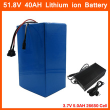1500W 51.8V 40AH 52V 40AH lithium battery 52V 14S Electric Bicycle battery Use 3.7V 5AH 26650 cell With 30A BMS 58.8V 5A charger