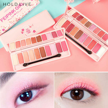 HOLD LIVE Pink Cherry Blossoms Eye Shadow Palette 10 Color Matte Diamond Glitter Metallic Wet And Dry Eyes Shadows Make Up Brand(China)
