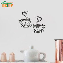 DCTOP Two Cups Of Coffee Vinyl Art Wall Stickers Home Decor Creative Design Wall Decals DIY Decoration For Kitchen