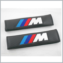 1 Pair M Tech Power Emblem Black Carbon Fiber Lorinser Seat Belt Shoulder Pads Motor Sport 2Pcs = 1 Pair(China)
