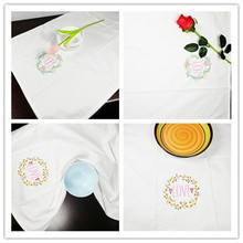6 pieces American country embroidered cloth napkins placemats cloth folded white cotton high-quality multi-purpose household fab(China)