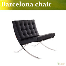 U-BEST high quality Barcelona chair, hot sell top grain real leatehr Barcelona chair stainless steel recliner chair designs