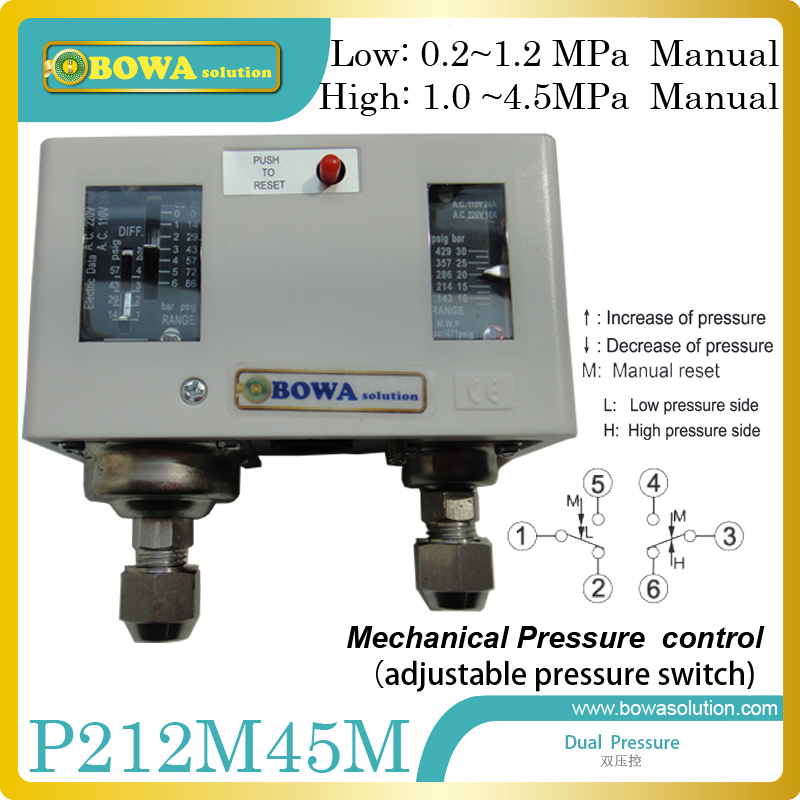 HVACR adjustable pressure controls espcailly installed in R410a refrigeration system and heat pump equipments<br>