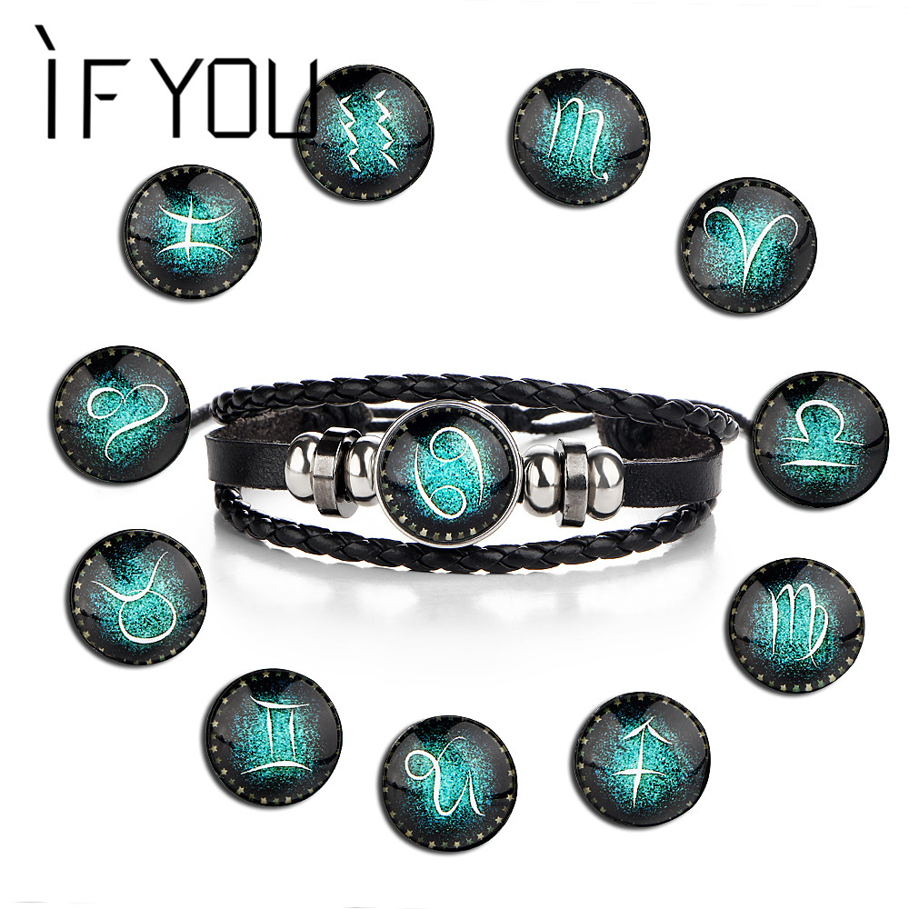 IF YOU 12 Constellation Button Charm Leather Bracelets & Bangles Women Men Punk Trendy Cuff Bead Multiple Layer Bracelet