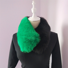 Lady Blinger creative faux fox fur patchwork scarves two-tone fake fur scarvs winter women fur muffler
