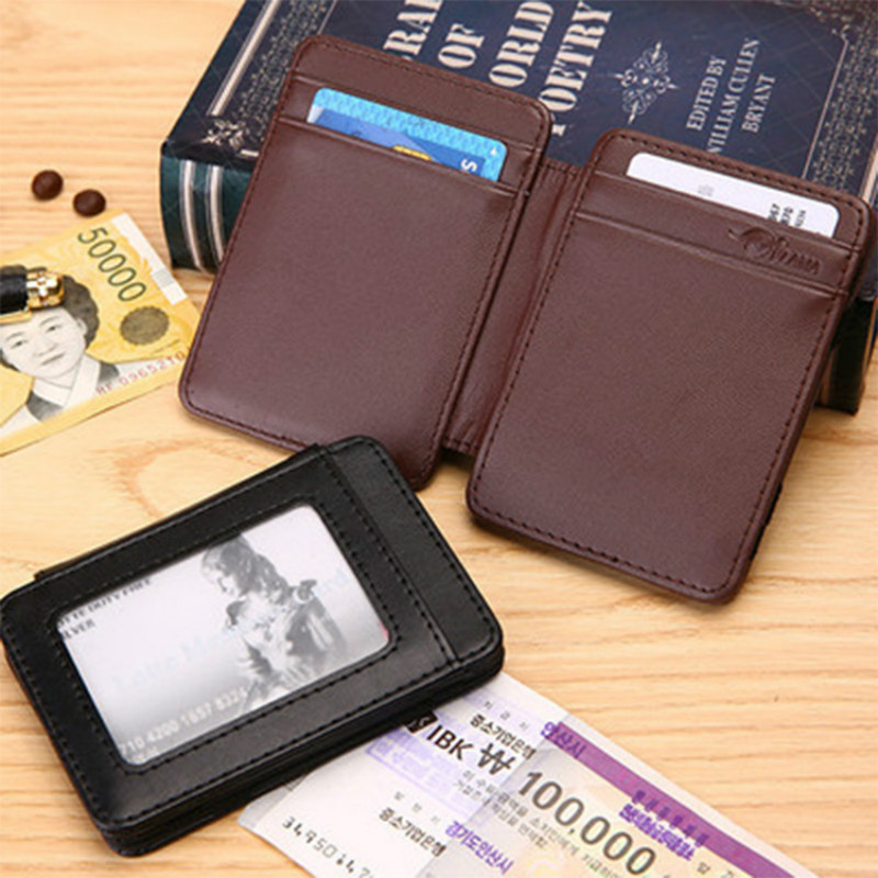 2016 New men money clip pu Leather magic Wallet women Clutch Female Brand Designer short Change Purse cards hold black brown<br><br>Aliexpress