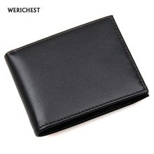 RFID Wallet Antitheft Scanning Leather Wallet Genuine Cow Leather Men's Slim Leather Mini Wallet Case Credit Card Black Purse(China)