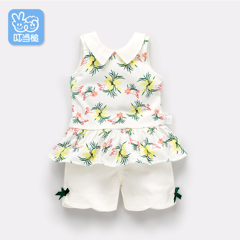 Dinstry summer new arrival baby girls clothes 18M-3years old,Hawaii flower print two piece set  vest .<br>