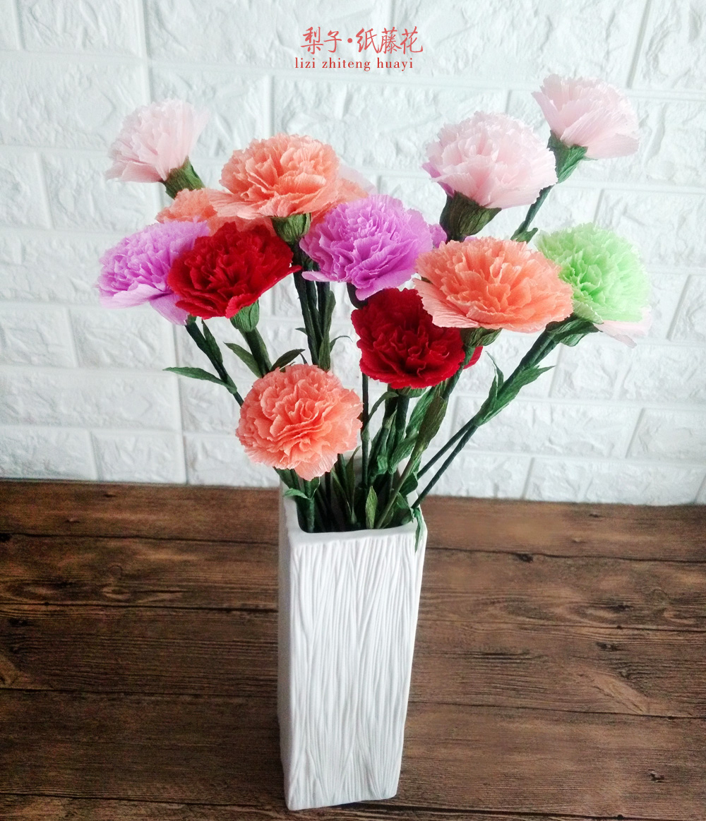 DIY crepe paper flower 25 Carnation crafts materials package Family holiday decoration potted gift<br>