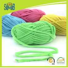 Jingxing, oeko tex hand knitting spaghetti yarn eco friendly quality, 100g skein, hand craft ribbon T shirt yarn for crocheting