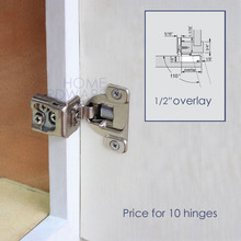 "10 pc soft close compact cabinet door hinge 1/2"" overlay 3 demension adjustment"