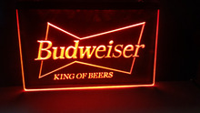 Budweiser KING OF beer bar pub club 3d signs LED Neon Light Sign 2 size home decor crafts(China)