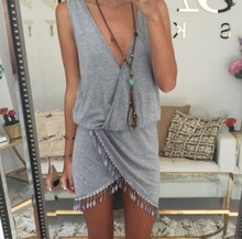 Summer Cotton Boho Maxi Party Dress High Slit Fringe Tassel Sexy Grey V-Neck Tulip Smock Waist Front Wrap Vestido Bodycon dress