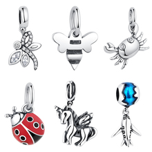 Shipinwei 925 Silver Lovely Horse Crab Dragonfly Animal Charm Beads Fit Pandora Original Bracelet Bangle For Women Jewelry Gift