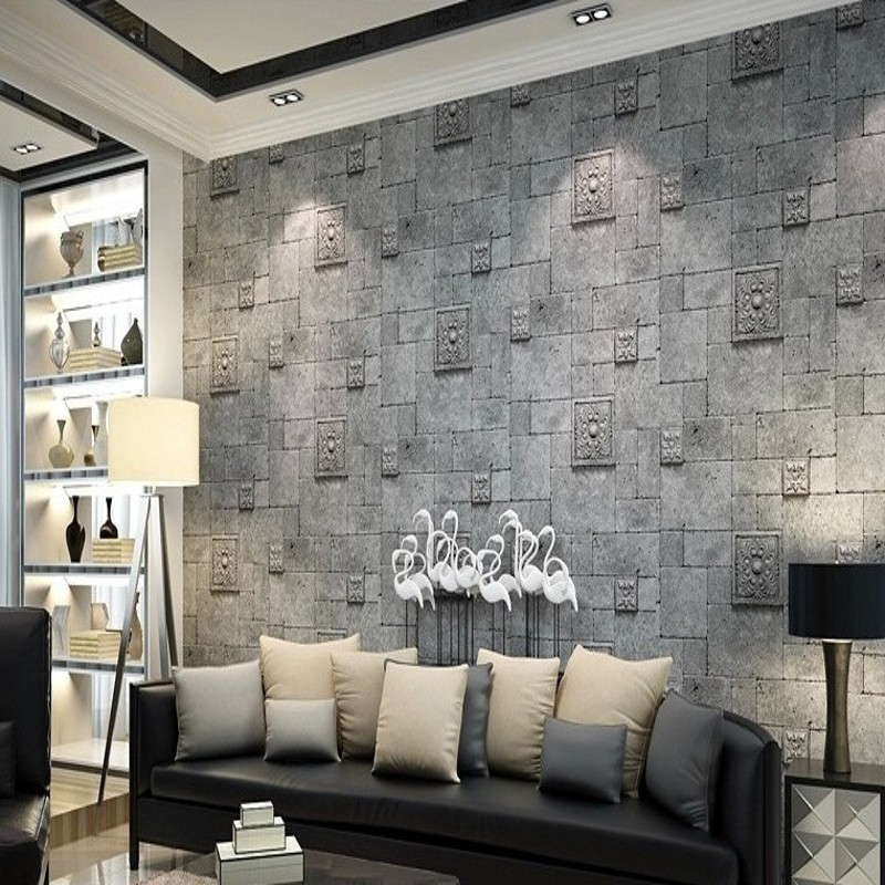 Free Shipping 3D Stereo Retro Antique Brick Wallpaper Roman Style Tea House Restaurant Living Room TV Backdrop Wallpaper <br>