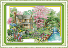 Flowers villa cross stitch kit spring season 18ct 14ct 11ct printed canvas DMC color cotton thread embroidery DIY handmade