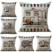 Cartoon Camping Car Linen Cotton Cushion Cover Throw Pillows Car Sofa Case Decorative Pillowcase almofadas decorativos cojines