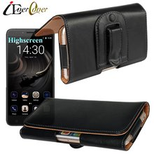 Horizontal Premium Leather Cover Case for Highscreen Razor / Razor Pro , Easy L , Power Rage EVO , Easy S Pro Phone Pouch Bag(China)