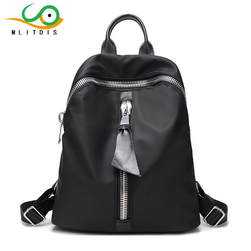 MLITDIS 2017 Nylon Simple Backpack Women Sac A Dos Femme Chaine Rucksack Women Backpack Female Black Backpacks Polyester Teenage<br>