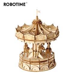 Robotime DIY 3D деревянная карусель головоломки подарок для игры для детей малыша другу приятный декор модели здания Наборы Популярная игрушка ...