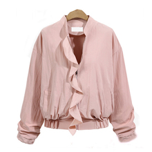 Fashion Coats 2017 Autumn Winter Women Thin Jacket Bomber Long Sleeve Coat Casual Stand Collar Outerwear Plus Size(China)