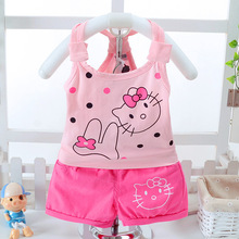 new summer baby girls clothes hello kitty children cotton girls clothing set cartoon clothes sets kids t-shirt +shorts 2pcs suit