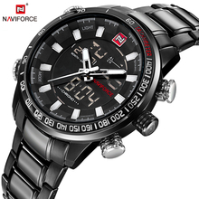 NAVIFORCE Luxury Brand Men's Sport Watches Men Dual Display LED Digital Waterproof Full Steel Quartz Watch Man Clock+origin box(China)