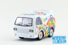 Candice guo alloy car model Kinsmart flower pattern funny simulation plastic motor children toy cartoon style bus christmas gift(China)