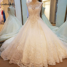 LS79210 sexy weddings dress 2017 see trough back sleeveless ball gown mariage lace arab wedding gowns ivory real photos(China)