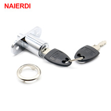 NAIERDI 105-23 Plunger Push Lock With 2 Key  For Sliding Glass Door Showcase Lock Furniture Cabinet Lock 23mm Thickness Hardware