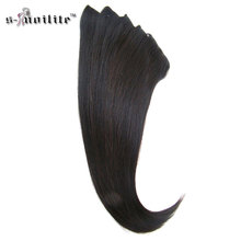 SNOILITE Double Weft 22inch Real Synthetic Curly 18 Clips in Hair Extensions Hair Styling Hairpiece 180g 8pcs/set