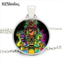 HZ1-008 Five Nights at Freddy's Necklace Toys Freddy Fazbear Scrabble Tile Pendant Glass Cabochon Necklace for Christmas Gift(China)