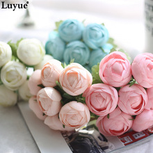 Luyue Artificial Peony Flowers Bride Bouquet Silk Simulation Fake Dew lotus Flower Wedding&Home Decor Wreath Flower Gifts(China)