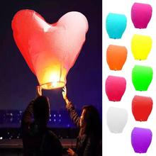 Wishing Lamp Heart Shape Paper Chinese Lanterns Kongming Flying Paper Sky Lanterns For Wedding Bachelorette Party Balloons L35