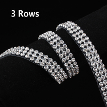 3 Rows SS8 Diamond Hotfix Rhinestone Mesh Banding Chain with silver Aluminum base crystal trim mesh 1.2m for garment(China)