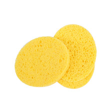 4 PCs Natural Wood Fiber Face Wash Cleansing Sponge Beauty Makeup Tools Accessories Round Yellow 7cm Dia Free Shipping(China)