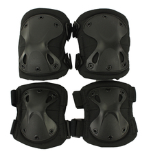 2016 Durable Airsoft Tactical Knee and Elbow coderas Protector Pads Set Black Airsoft rodilleras elbows protector(China)