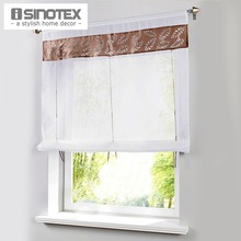 Window Roman Curtain New Laser Cutting Hollow Out Patchwork Home Fashion Tulle Curtain Panel 1 PCS/Lot With Plastic Tubes(China)