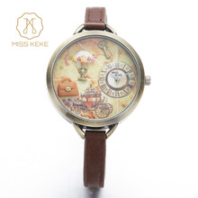 Miss Keke Girls Kids Watches Clay Mini Word Flower Leather Strap Wristwatches For Student Cartoon Quartz-watch Montre Enfant 881(China)