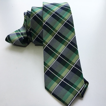 Designer's Tie Gentlemen Classic Necktie with Fashion Green Plaids Gravata Free Shipping