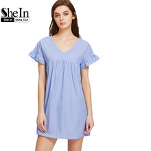 SheIn V Neck Ruffle Sleeve Striped Smock Dress Summer A Line Short Dress Women Cute Blue Striped Mini Dress
