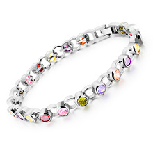 Silver Color AAA+ Cubic Zirconia Tennis Bracelet For Women Simulated Crystal Wedding Bridesmaid Jewelry Gift 2 Colors