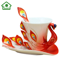 3D Peacock Coffee Mug with Saucer Spoon Set Creative China Ceramic Tea Cups 200ml Home Arts Collection Wedding Birthday Gifts(China)