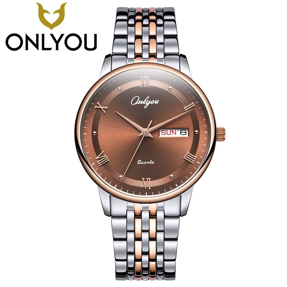 ONLYOU Top Brand Luxury Lovers Watches Men Women Business Fashion Quartz Watch Auto Date Waterproof Clock Wristwatch Wholesale<br>