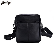 New Men's Business Genuine Leather Mini Crossbody Bags Portable European Style Male Single  Shoulder Crossbody Bag Black