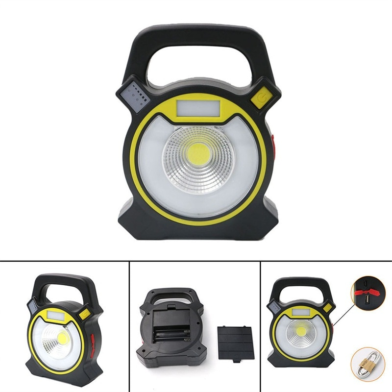 4-Mode Emergency Spotlight Lamp Portable Flashlight COB LED Floodlight Lantern USB Rechargeable  for Camping Hiking Tent Light