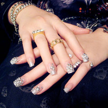 New 24pcs glitter Acrylic Full Cover Nail Tips False Nail Art With Glue Pre Designed Fake Nail Tips Artificial Nails Designs(China)