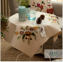 Chinese Lu embroidered Cotton Tablecloth embroidered Linen Table cloth 85CM Square Doilies computer Furniture Cover cloth