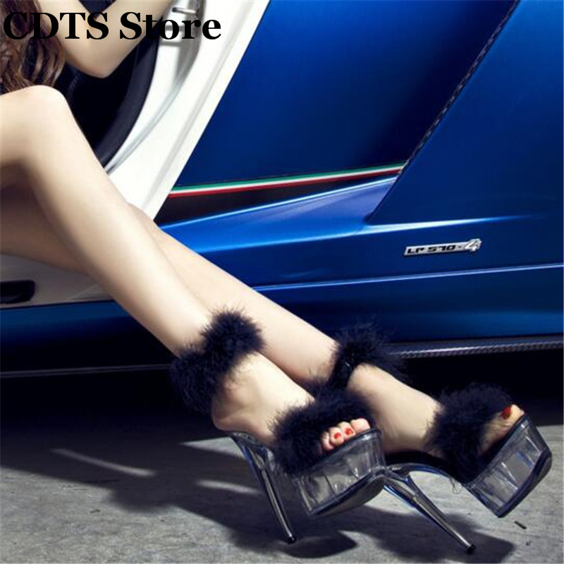 CDTS:34-44 Plolicy Feather summer sexy 15cm ultra high thin heels crystal transparent platform shoes female sandals woman pumps<br><br>Aliexpress